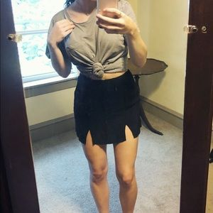 Cute Black Two Slit Mini Skirt